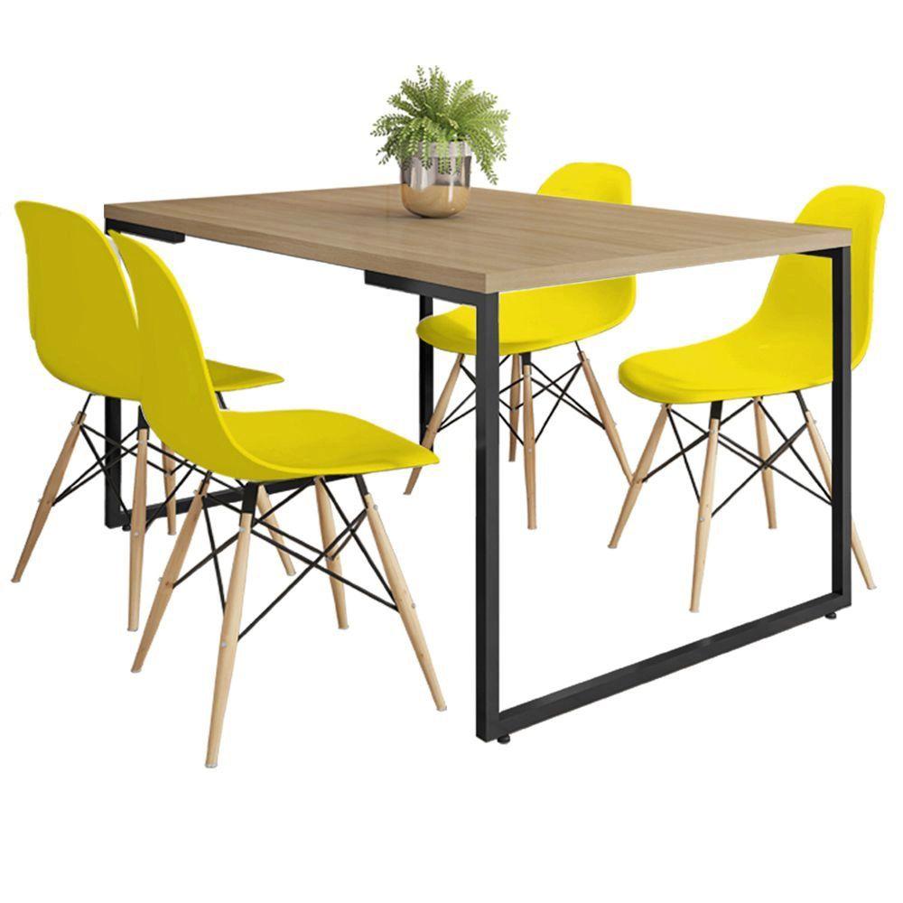 Mesa de Jantar Rivera Industrial Nature F01 com 04 Cadeiras Eiffel Charles Eames Amarelo - Lyam Decor