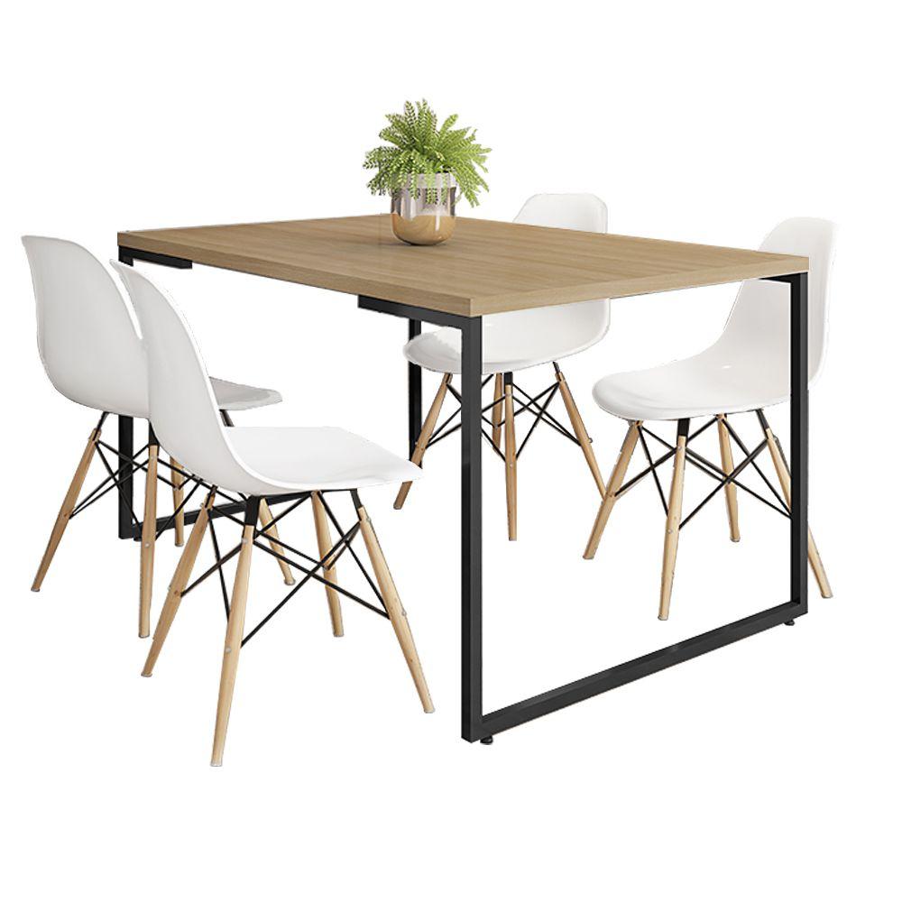 Mesa de Jantar Rivera Industrial Nature F01 com 04 Cadeiras Eiffel Charles Eames Branco - Lyam Decor