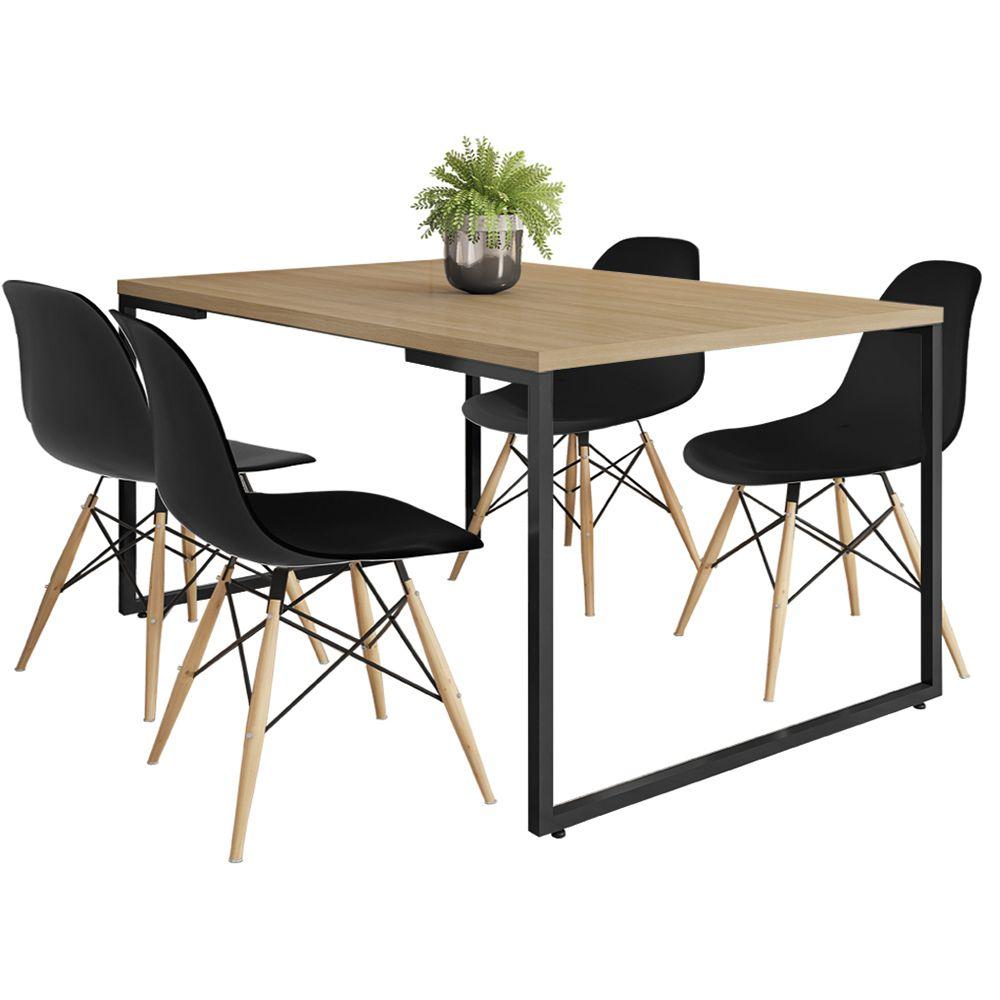 Mesa de Jantar Rivera Industrial Nature F01 com 04 Cadeiras Eiffel Charles Eames Preto - Lyam Decor