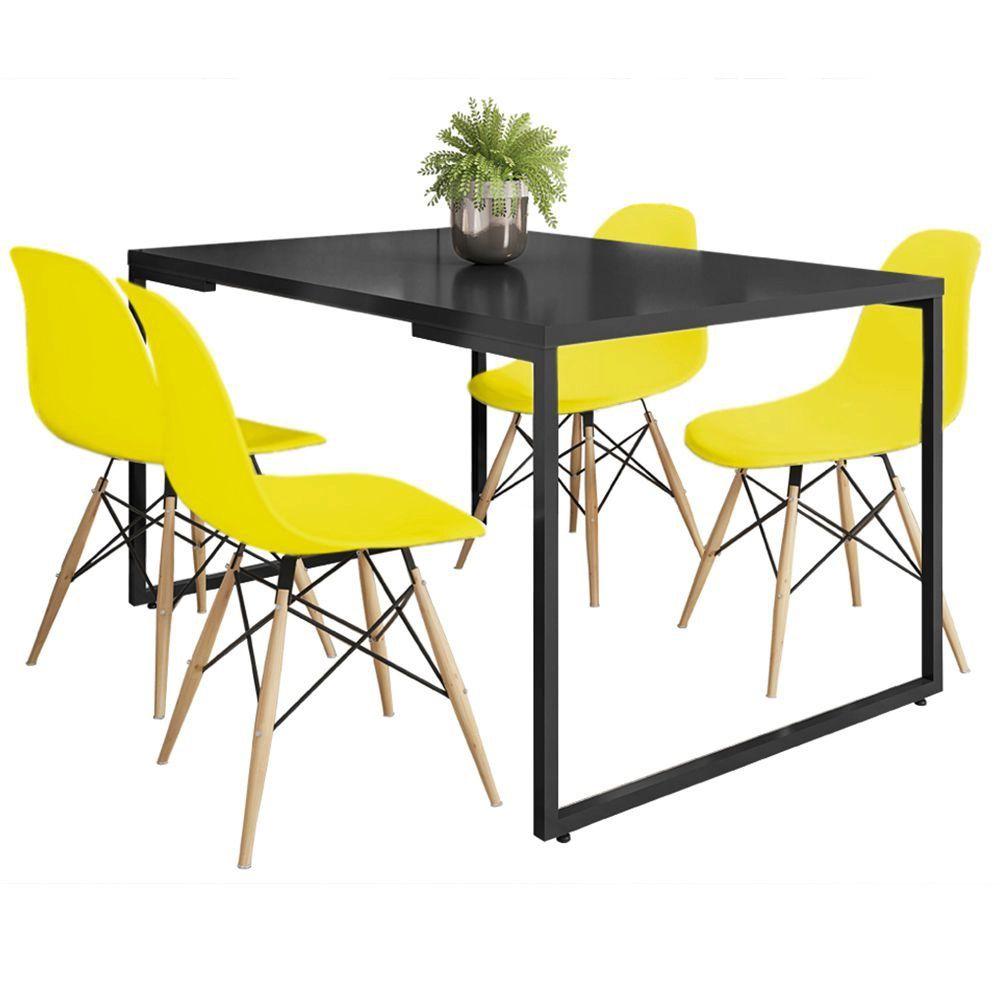 Mesa de Jantar Rivera Industrial Preto F01 com 04 Cadeiras Eiffel Charles Eames Amarelo - Lyam Decor