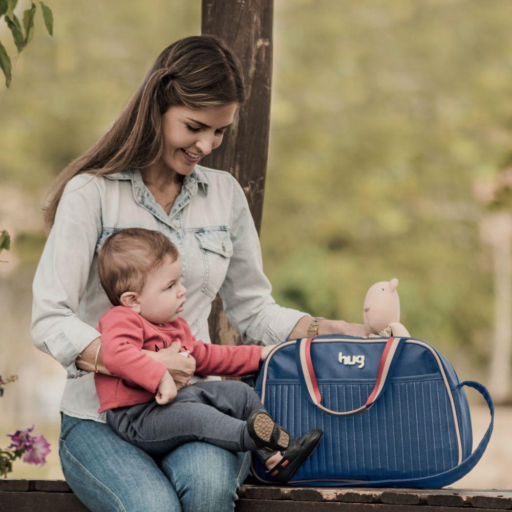 Mala Maternidade com Alça Fixa Náutica XG Azul Marinho