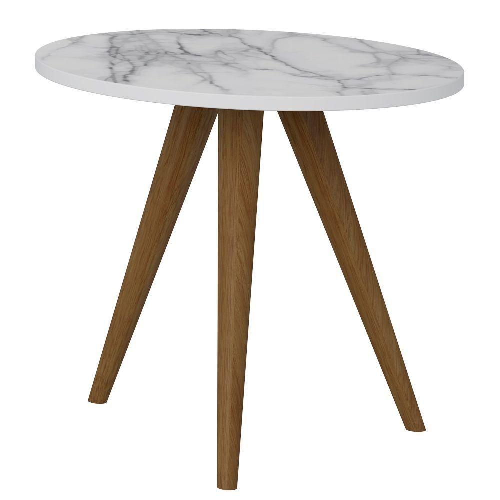 Mesa De Canto Lateral Para Sala de Estar Retrô Branco Carrara - Be Mobiliário