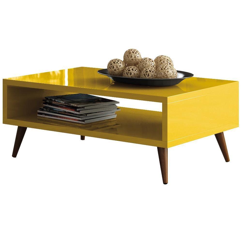 Mesa De Centro Decorativa Lara B01 Amarelo Pés Palito - Lyam Decor