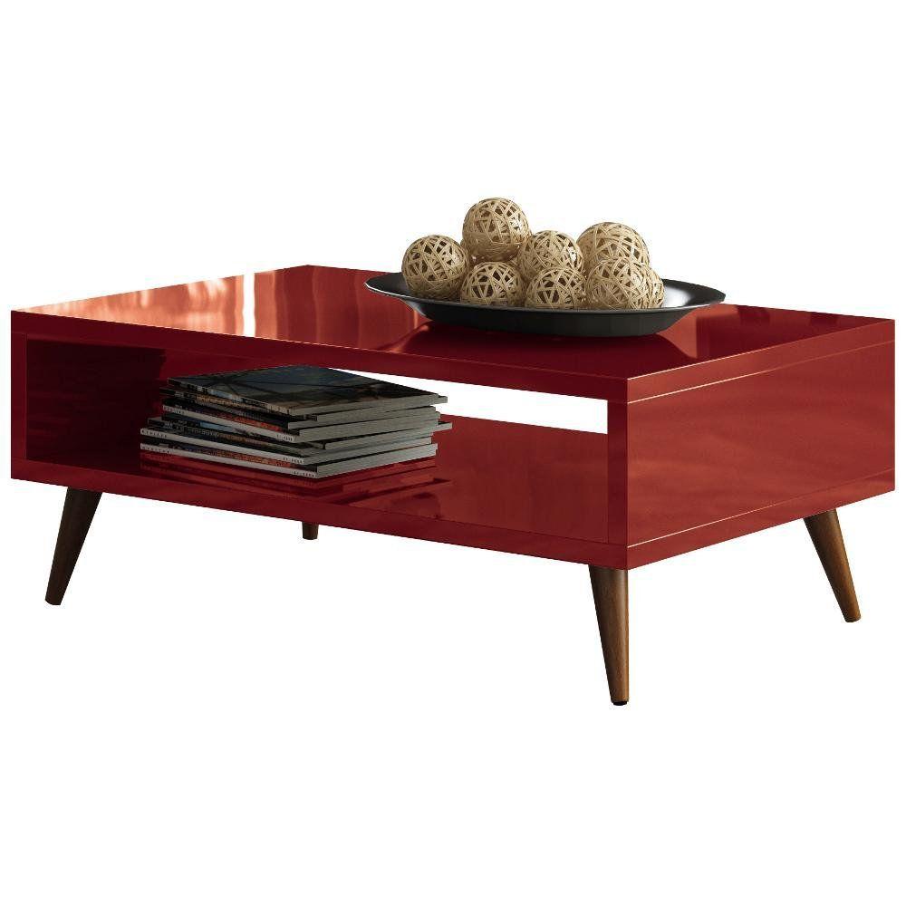 Mesa De Centro Decorativa Lara B01 Vermelho Pés Palito - Lyam Decor