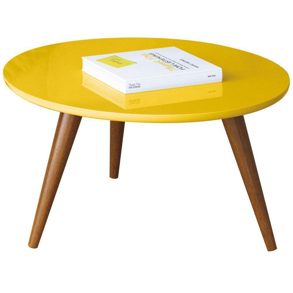 Mesa De Centro Decorativa Sofia B01 Amarelo Pés Palito - Lyam Decor