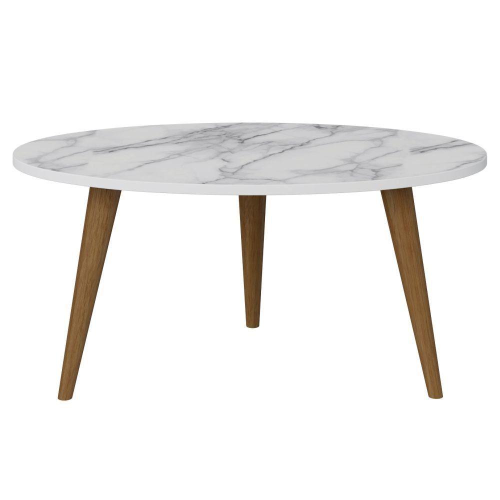 Mesa De Centro Para Sala de Estar Retrô Branco Carrara - Be Mobiliário