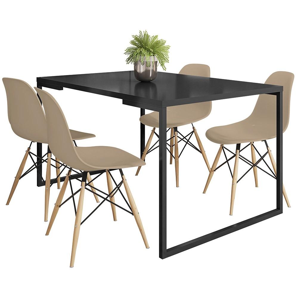 Mesa de Jantar Rivera Industrial Preto F01 com 04 Cadeiras Eiffel Charles Eames Nude - Lyam Decor