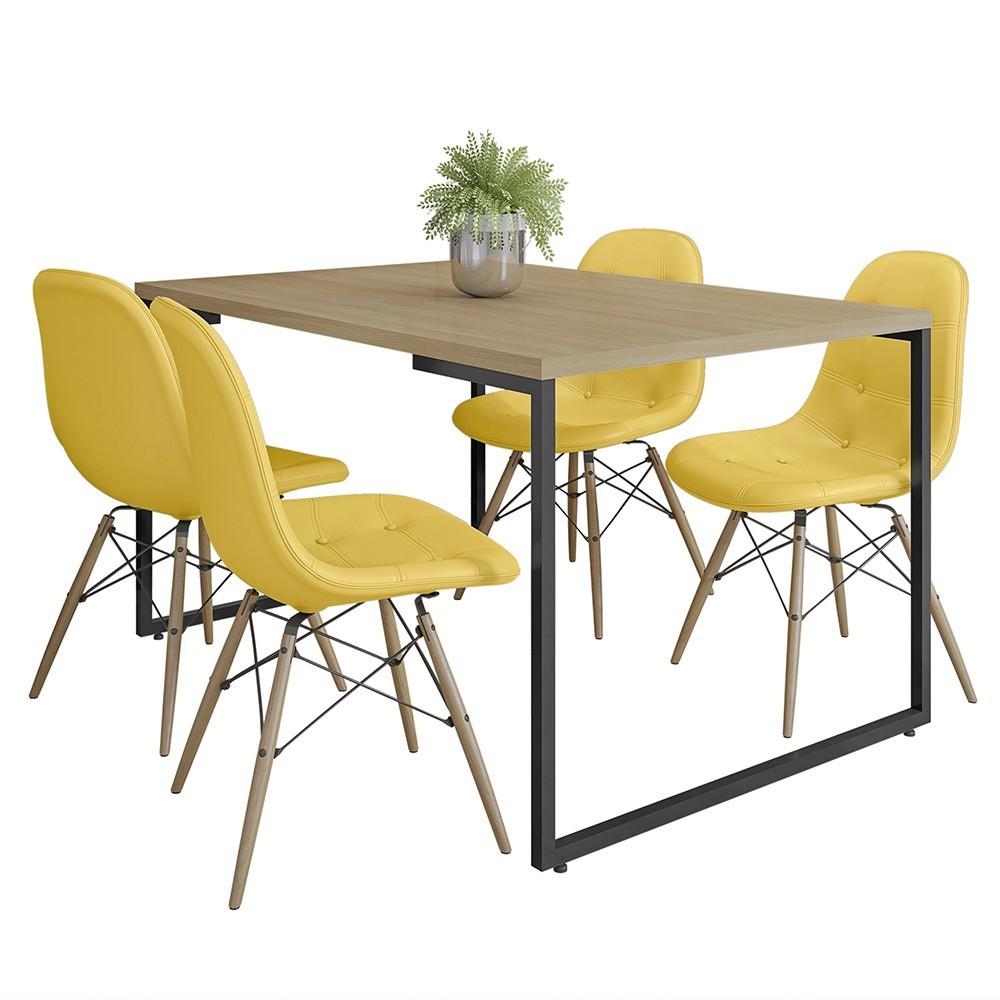 Mesa de Jantar Rivera Nature F01 com 04 Cadeiras Eiffel Charles Eames Botonê Amarela - Lyam Decor