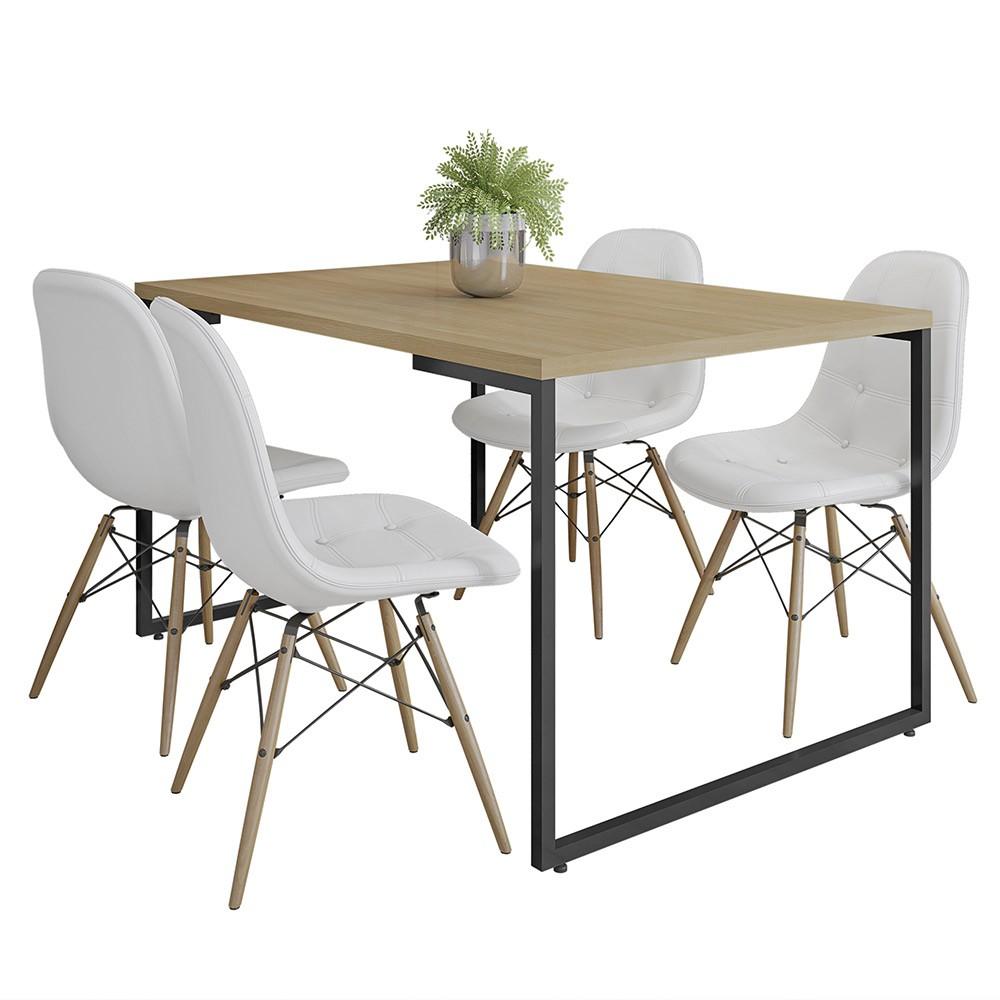 Mesa de Jantar Rivera Nature F01 com 04 Cadeiras Eiffel Charles Eames Botonê Branco - Lyam Decor