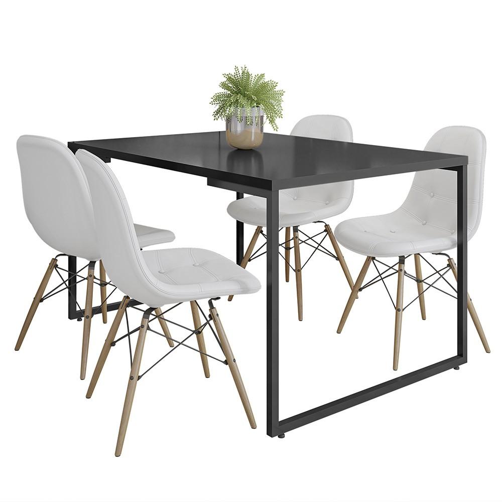 Mesa de Jantar Rivera Preto F01 com 04 Cadeiras Eiffel Charles Eames Botonê Branco - Lyam Decor
