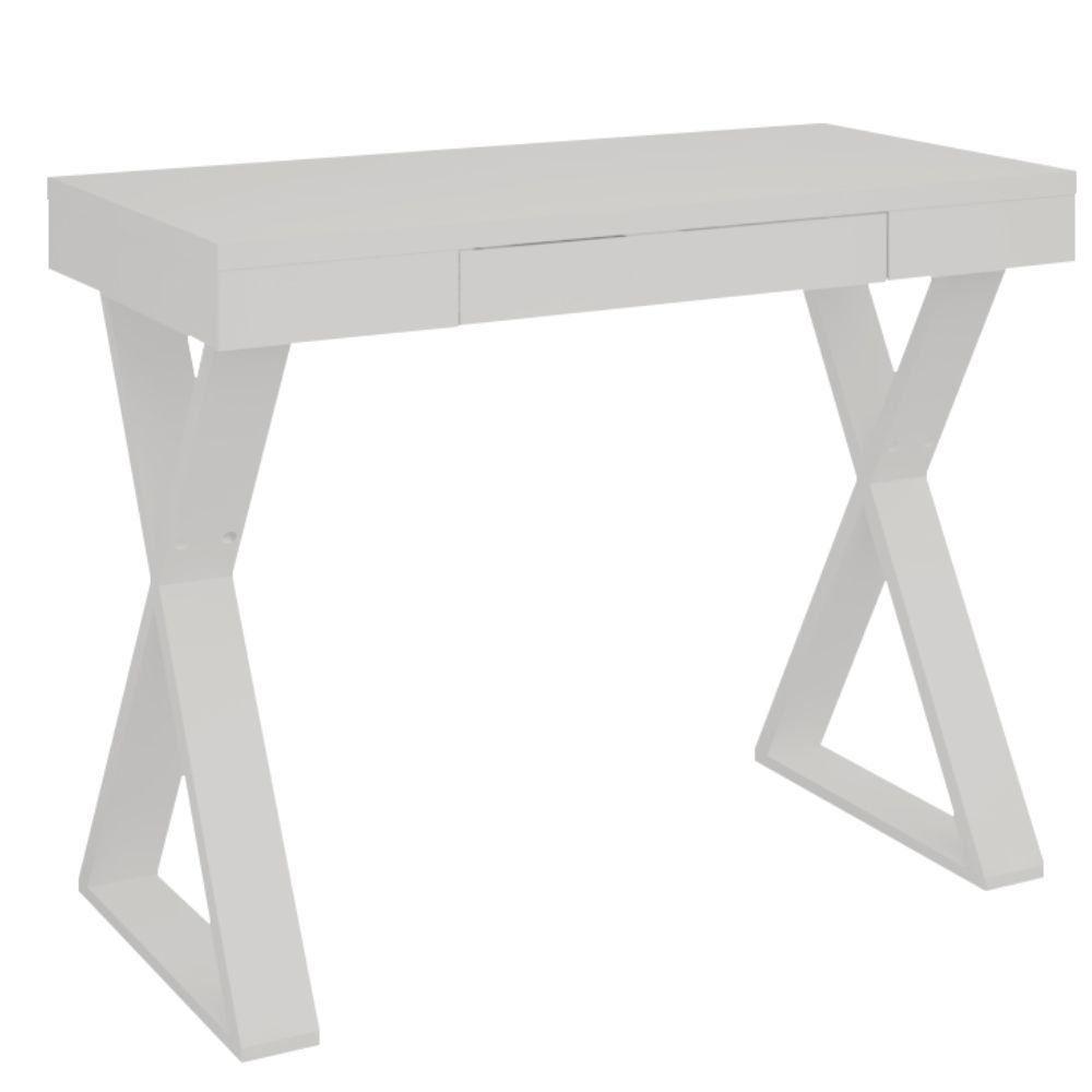 Mesa Para Escritório Escrivaninha Cavalete 01 Gaveta Veneza A02 Web Branco - Lyam Decor