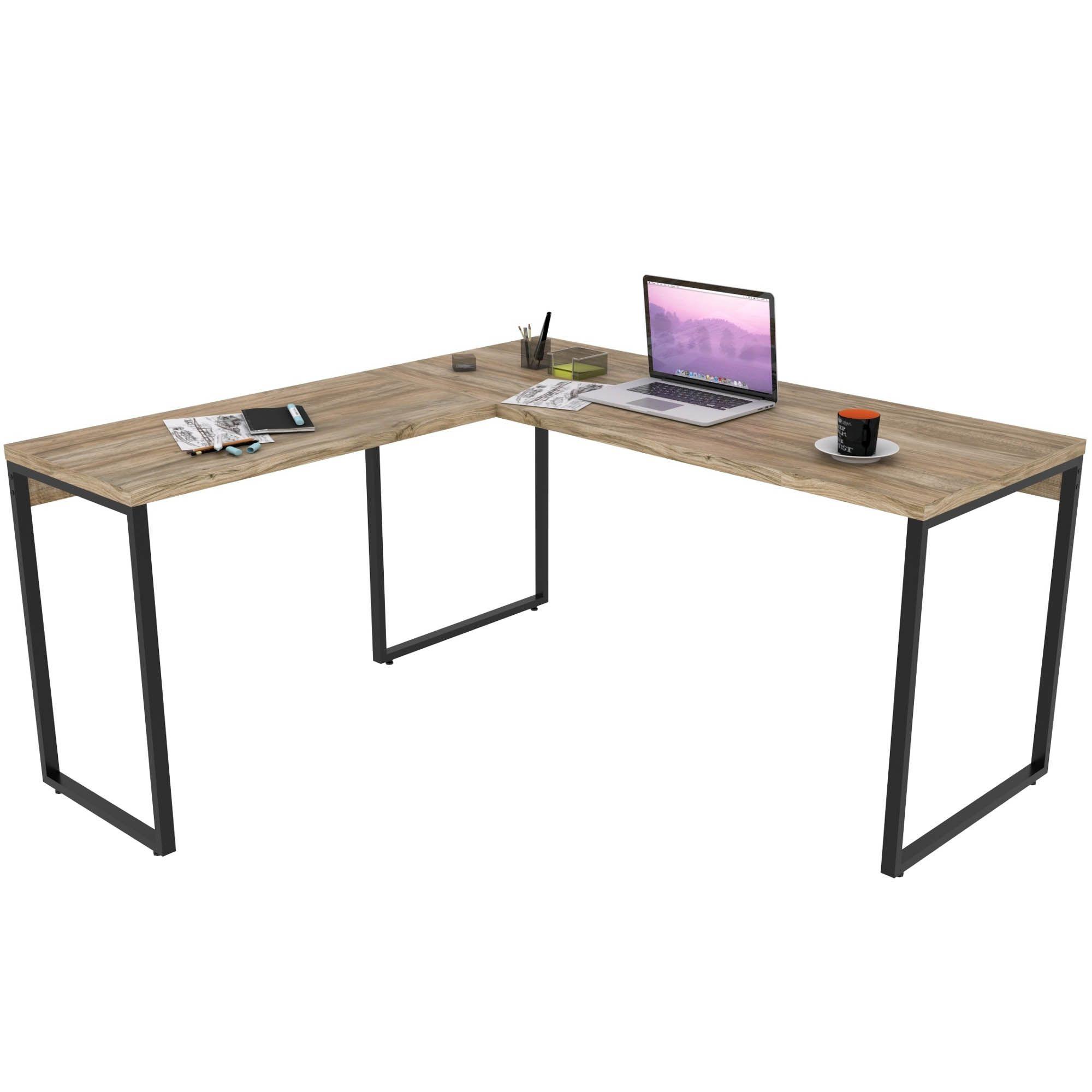 Mesa Para Escritório Home Office Estilo Industrial em L Form C01 150x150cm Carvalho - Lyam Decor