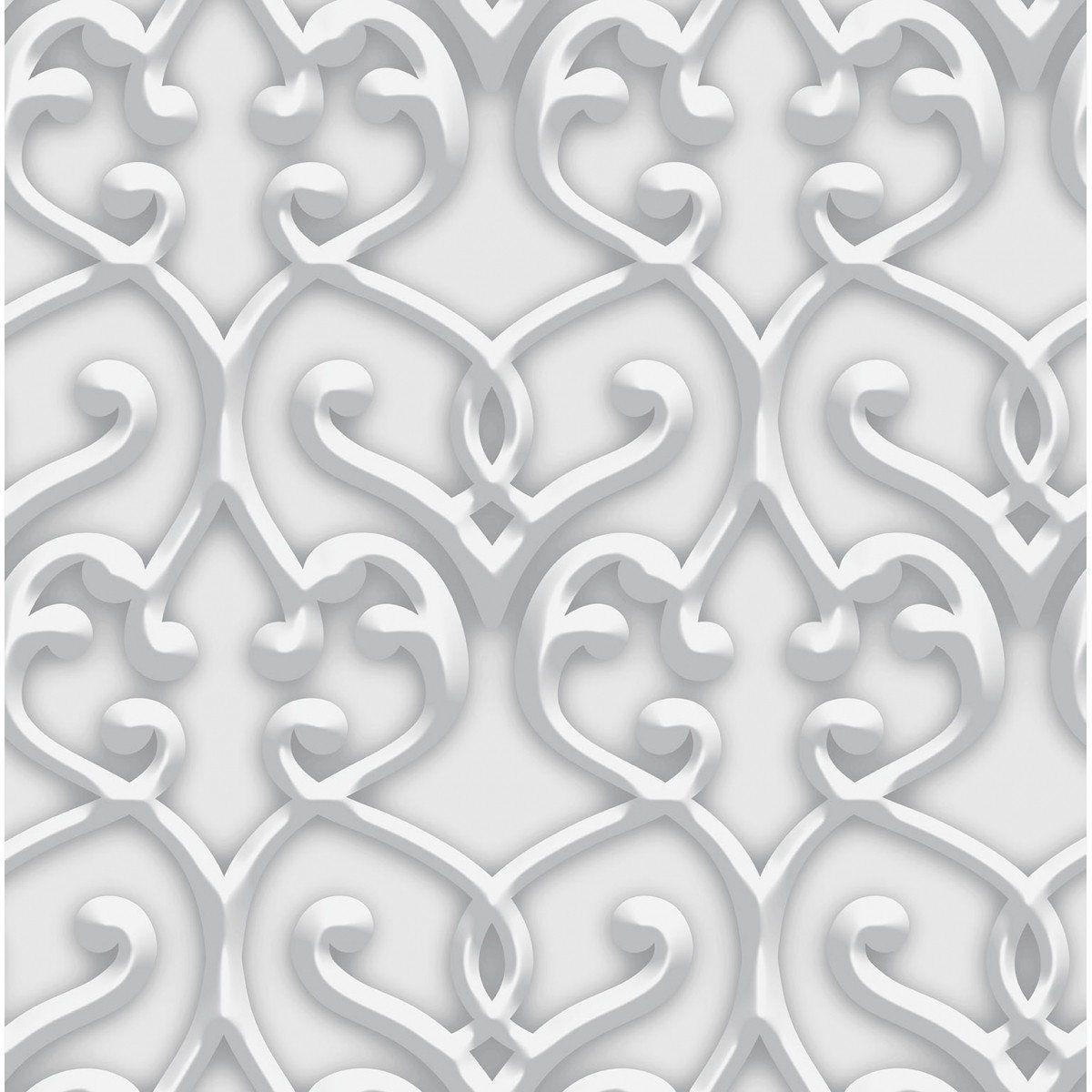 Papel de Parede Bobinex Coleção Dimensões Damask Cinza L01 4718 - Lyam Decor