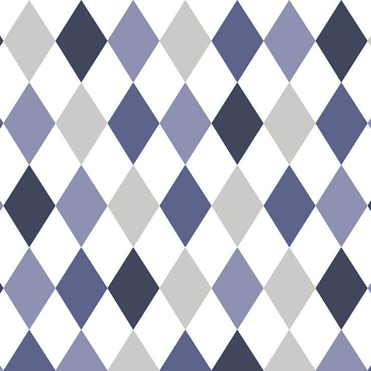 Papel de Parede Bobinex Coleção Renascer Losango Azul L01 6246 - Lyam Decor