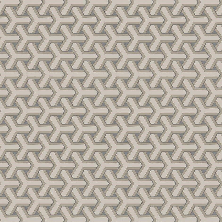 Papel De Parede Coleção Diplomata Geometrico Boolmerang Bege e Cinza L01 3125 Bobinex