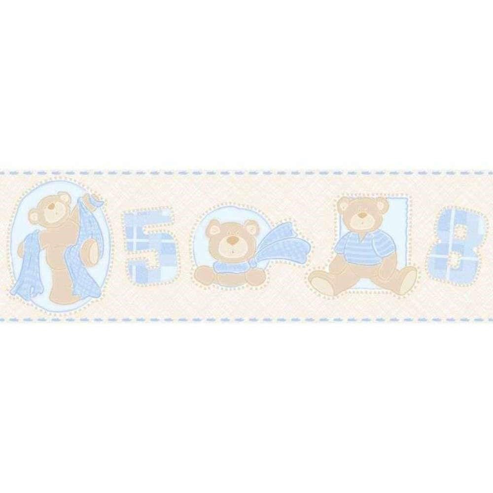 Papel De Parede Border Bambinos Bege Azul Ursos L01 3208 Bobinex