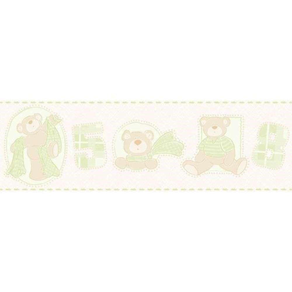Papel De Parede Border Bambinos Bege Verde Ursos L01 3209 Bobinex