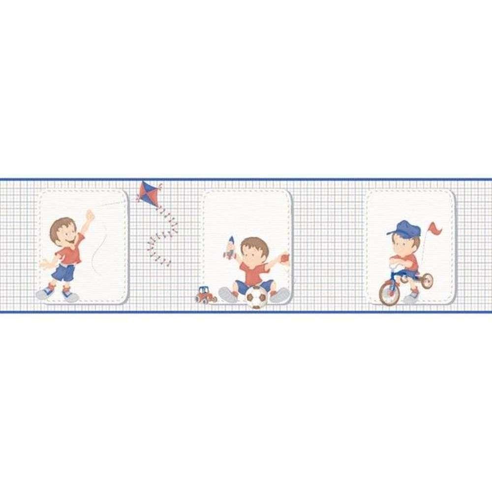 Papel De Parede Border Bambinos Branco Azul Meninos L01 3204 Bobinex