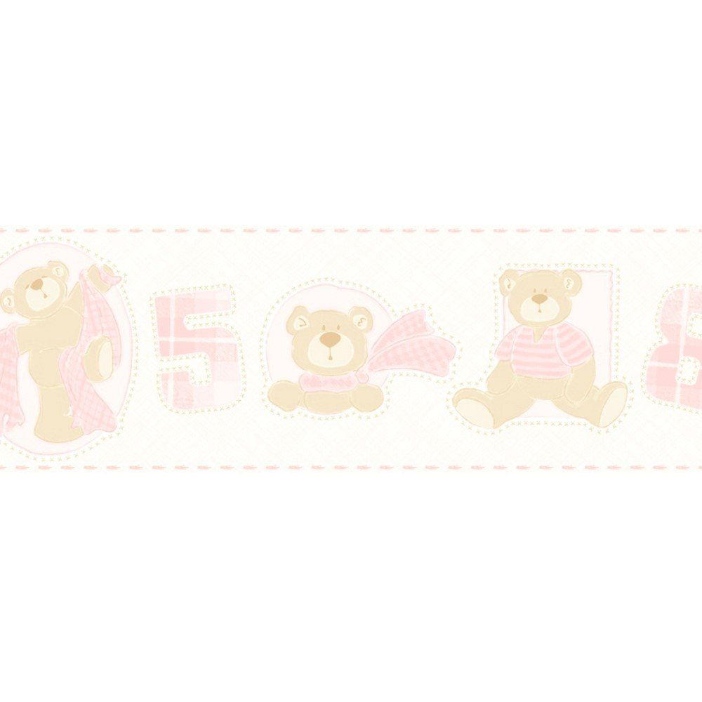 Papel De Parede Border Bambinos Rosa Ursos L01 3207 Bobinex