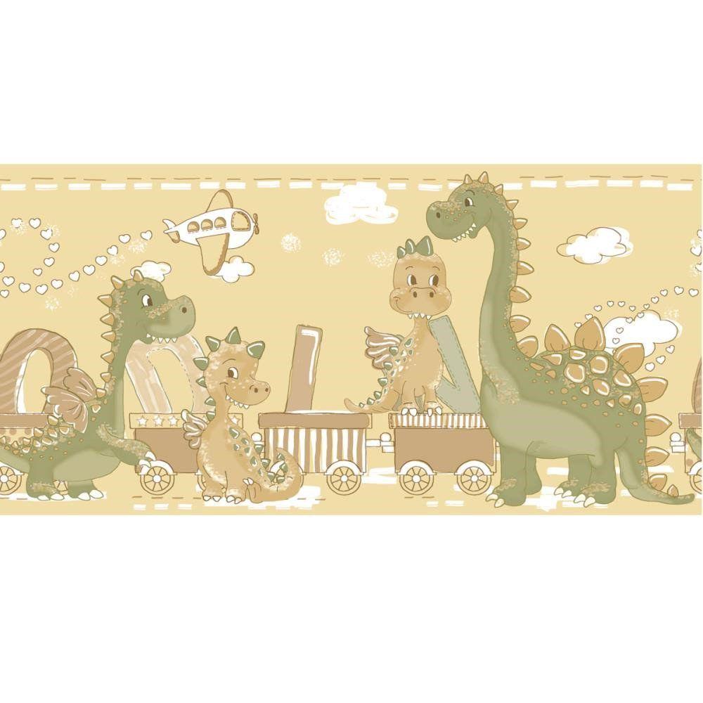 Papel De Parede Border Coleção Bim Bum Bam Amarelo Verde Dinossauros L01 2275 Cristiana Masi