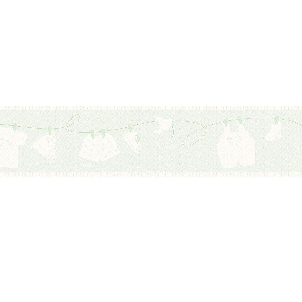 Papel De Parede Border Coleção Infantário Verde Bege Varal L01 1903 Bobinex
