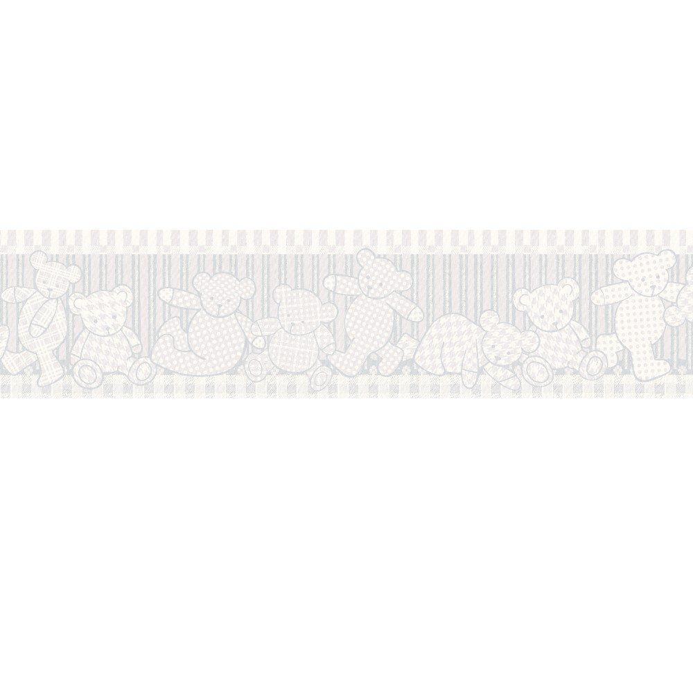 Papel De Parede Border Coleção Infantário Azul Ursos L01 1905 Bobinex