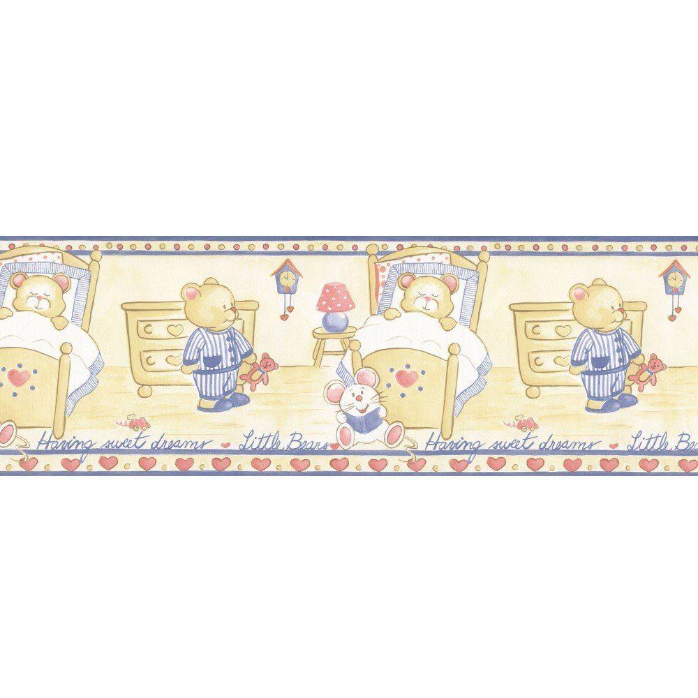 Papel de Parede Border Faixa Figuras Azul Urso L01 5500 Bobinex