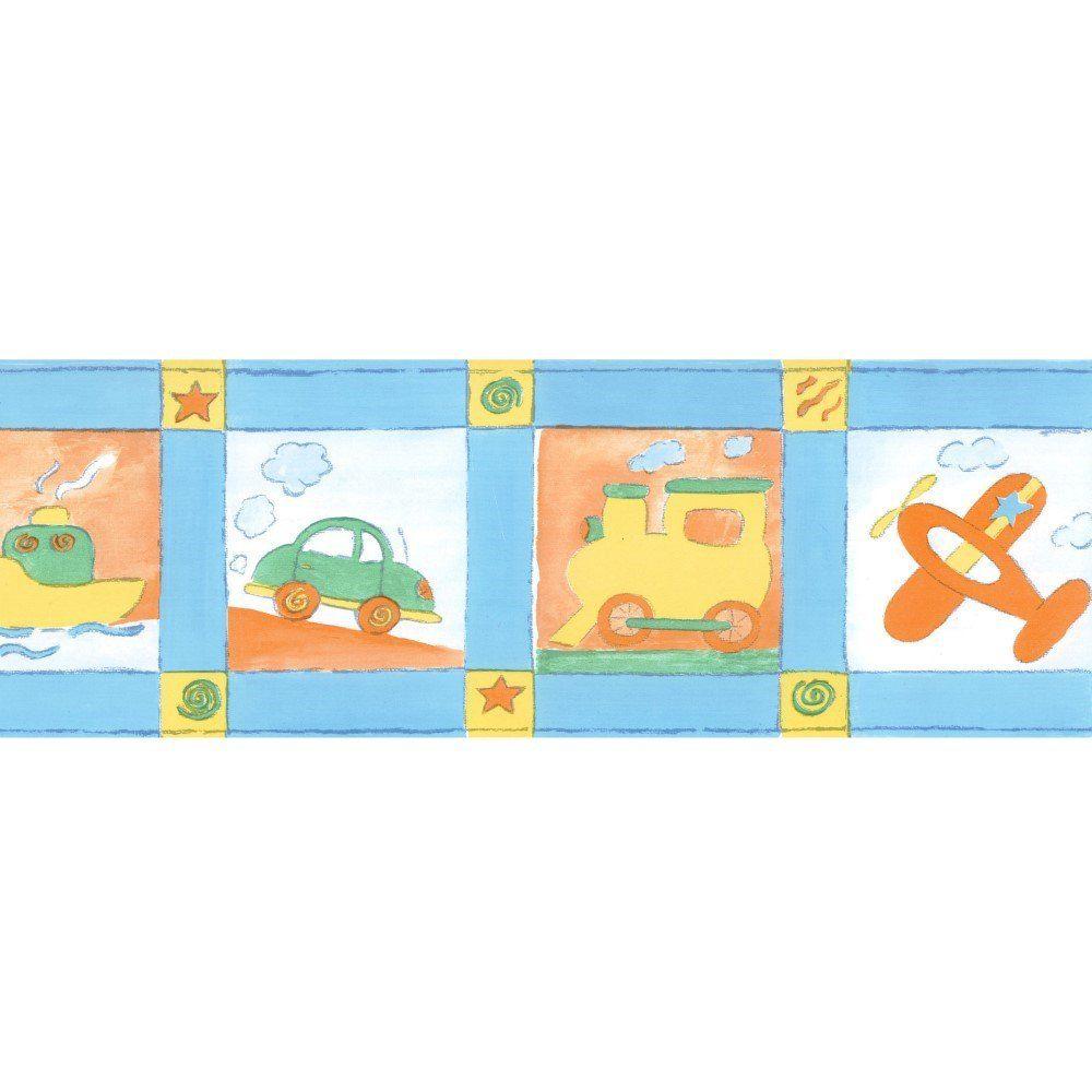 Papel De Parede Border Figuras Azul Aviões L01 5511 Bobinex