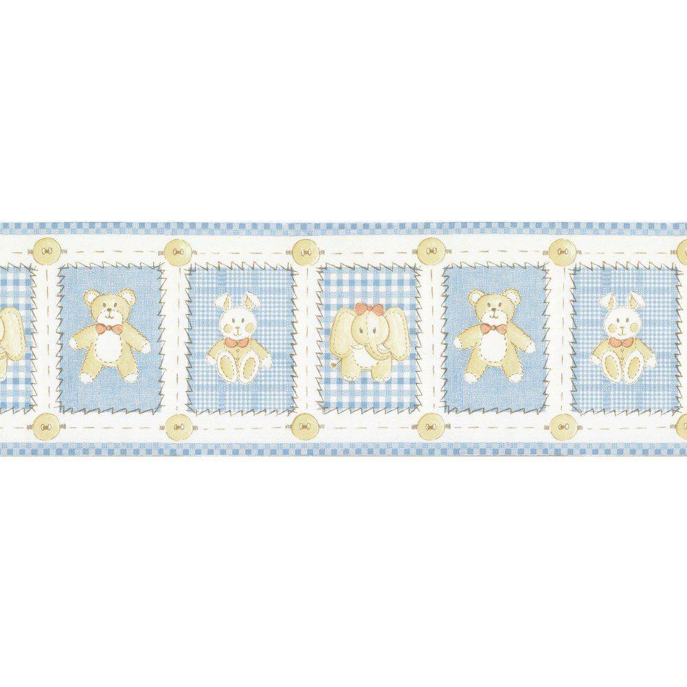Papel De Parede Border Figuras Azul Bege Ursos L01 5508 Bobinex