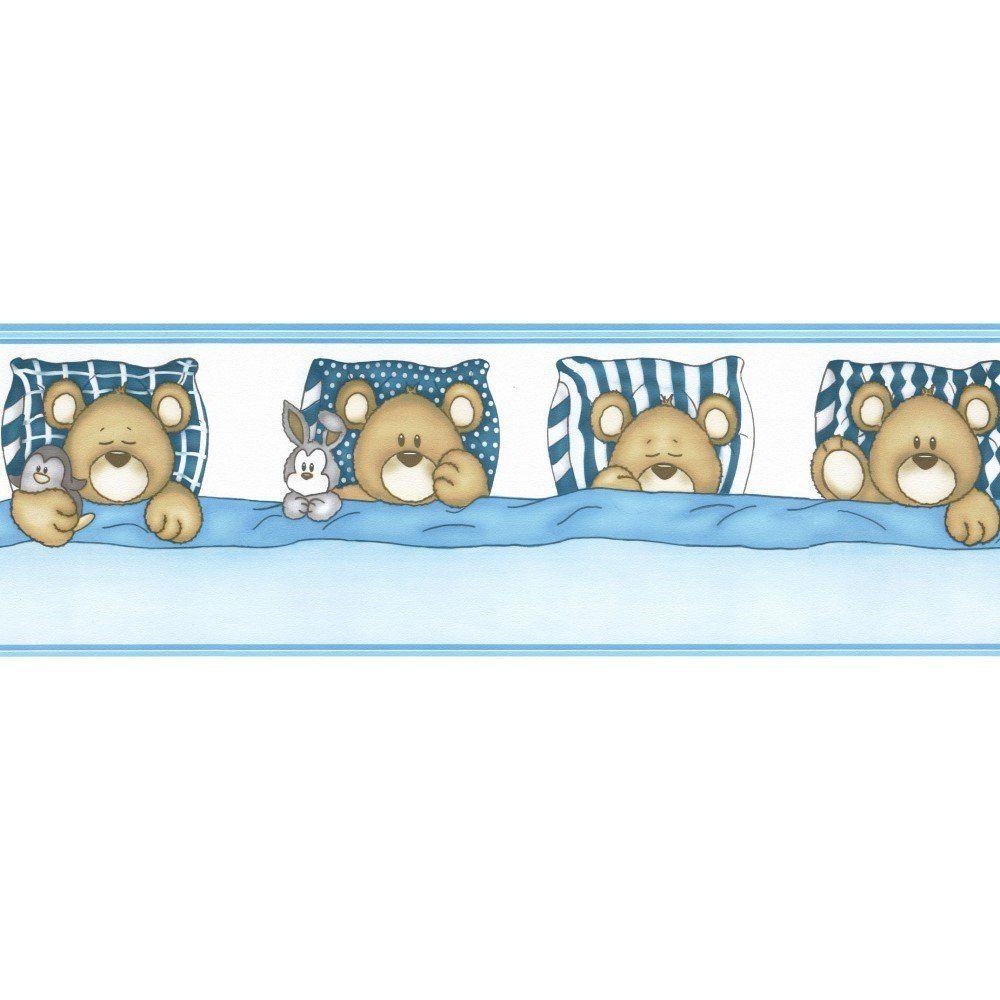 Papel De Parede Border Figuras Azul Ursos L01 8519 Bobinex