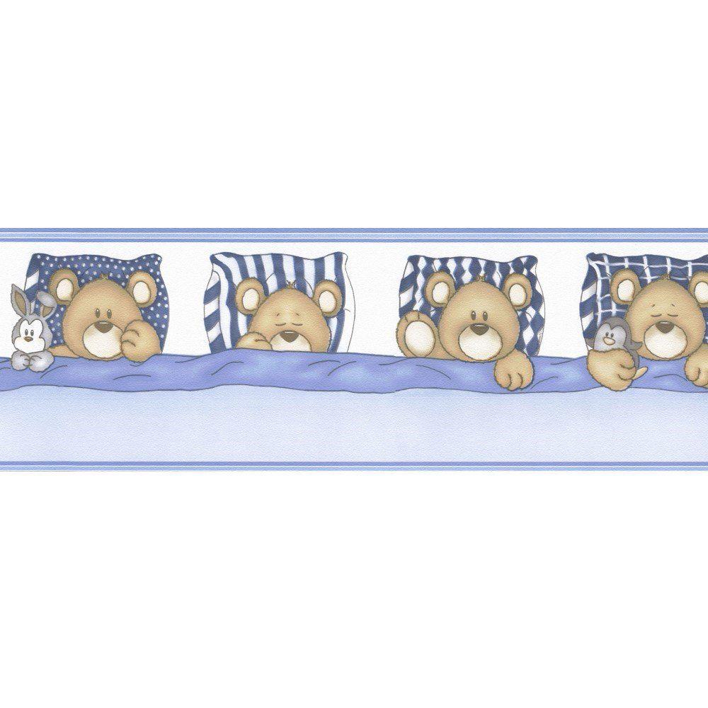 Papel De Parede Border Figuras Azul Ursos L01 8520 Bobinex