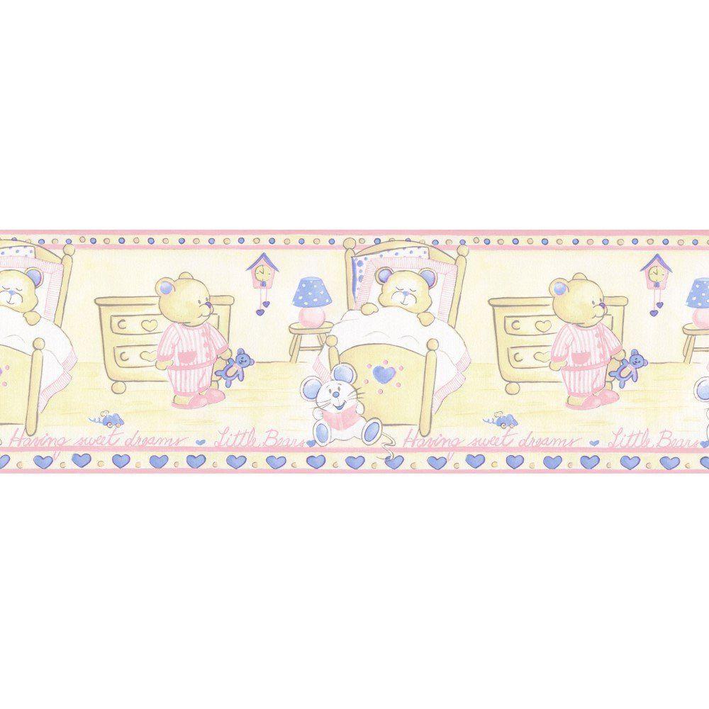 Papel De Parede Border Figuras Rosa Bege Ursos L01 5501 Bobinex