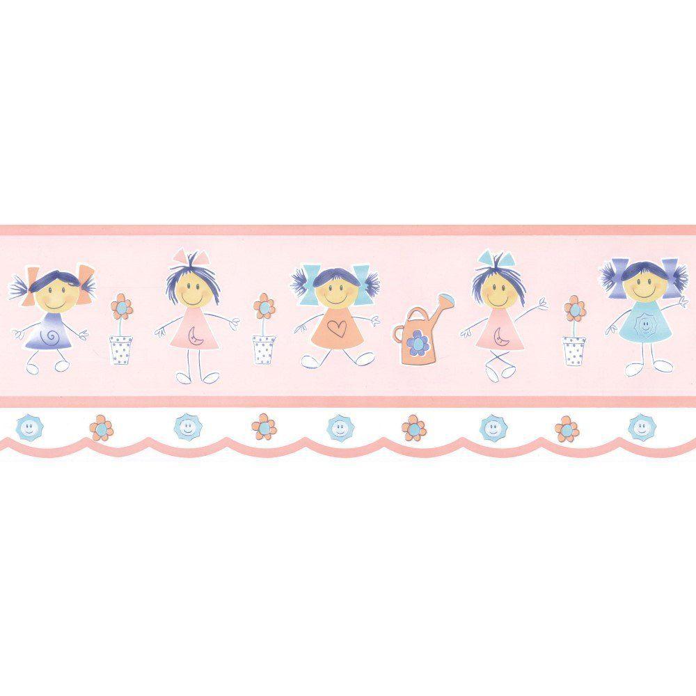 Papel De Parede Border Figuras Rosa Meninas L01 5540 Bobinex