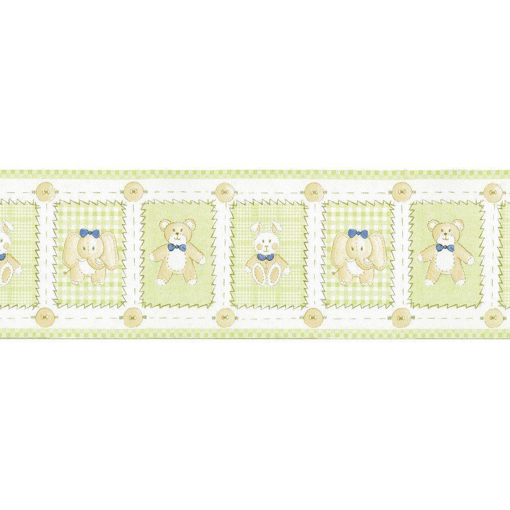 Papel De Parede Border Figuras Verde Bege Ursos L01 5505 Bobinex
