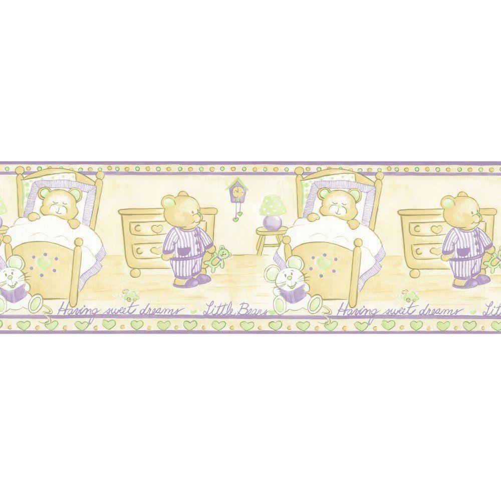 Papel De Parede Border Figuras Verde Lilás Ursos L01 5502 Bobinex