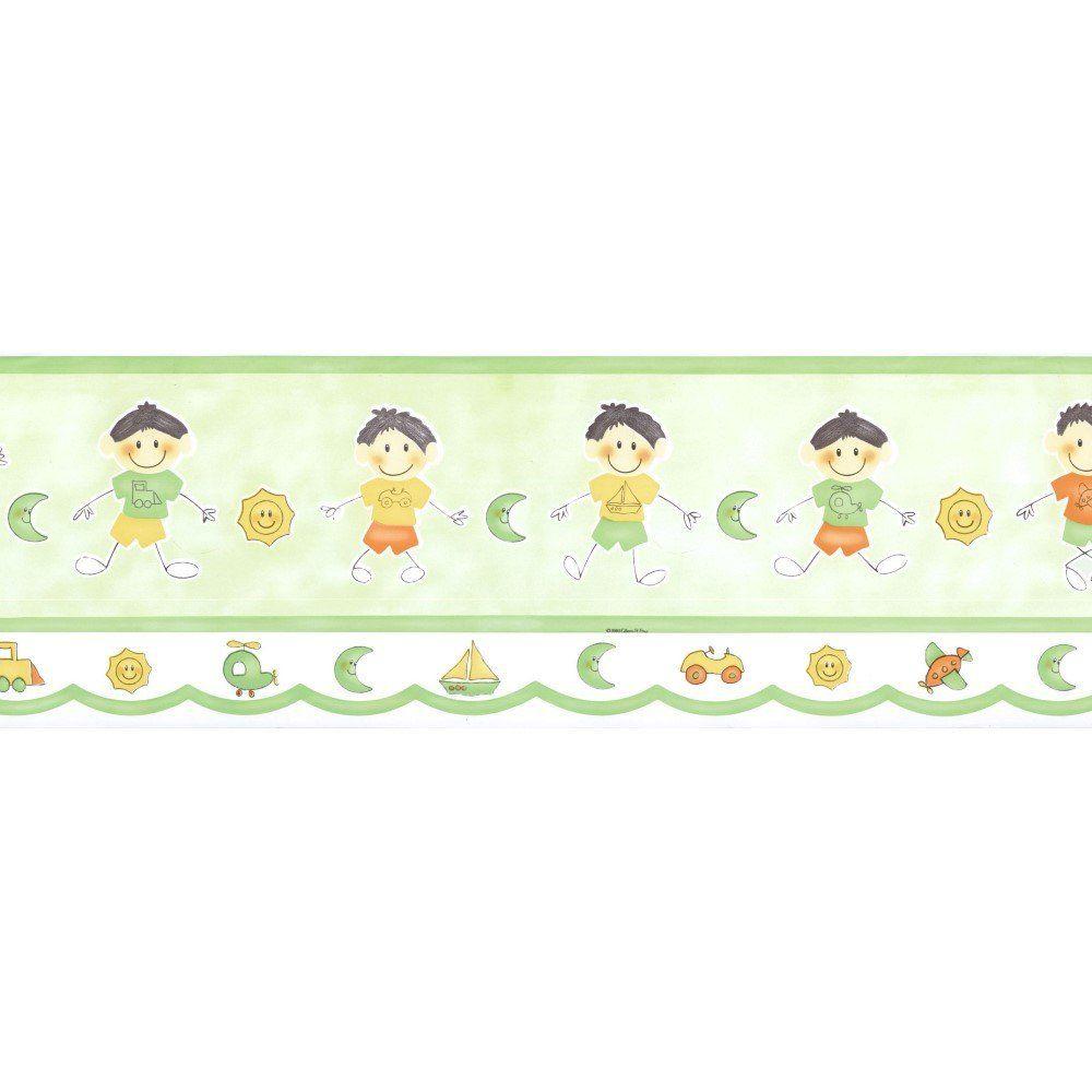 Papel De Parede Border Figuras Verde Meninos L01 8524 Bobinex