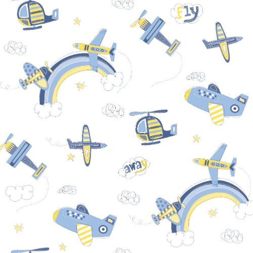 Papel De Parede Coleção Bambinos Azul Branco Aviões L01 3306 Bobinex