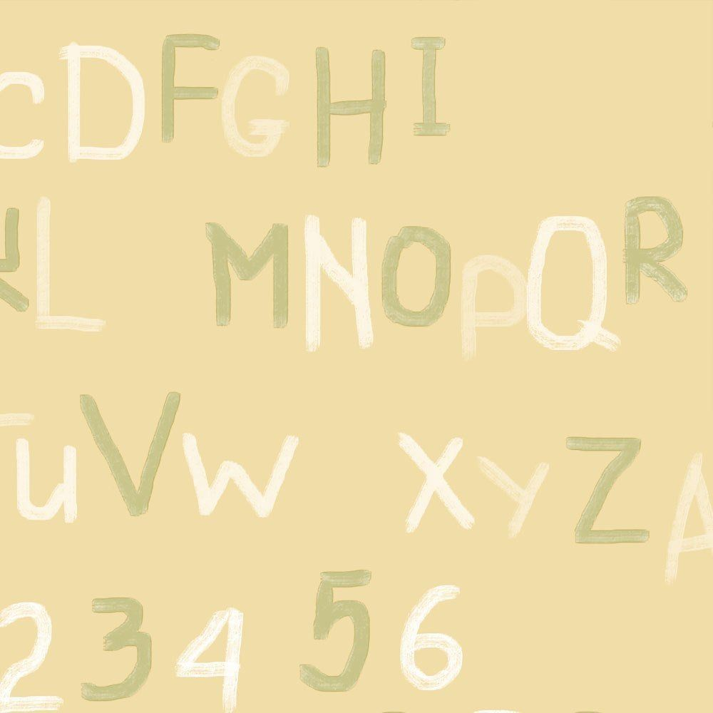 Papel De Parede Coleção Bim Bum Bam Amarelo Branco Verde Letras L01 2257 Cristiana Masi