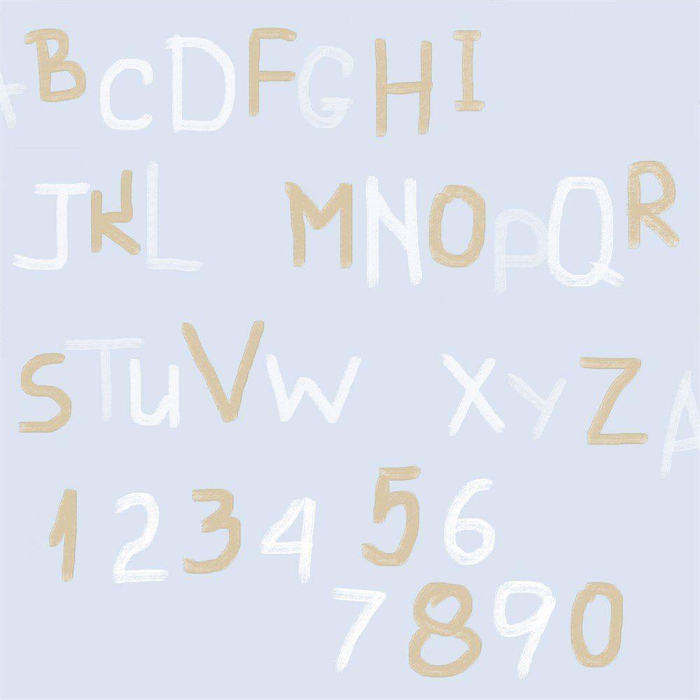 Papel De Parede Coleção Bim Bum Bam Azul Branco Dourado Letras L01 2256 Cristiana Masi
