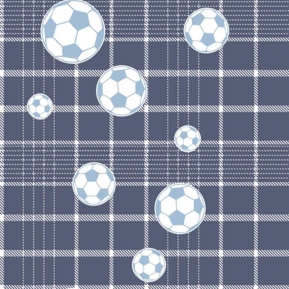 Papel De Parede Coleção Bim Bum Bam Azul Branco Futebol L01 2249 Cristiana Masi