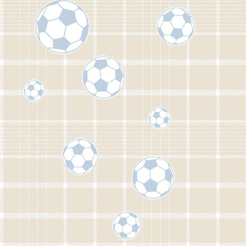 Papel De Parede Coleção Bim Bum Bam Bege Azul Branco Futebol L01 2246 Cristiana Masi
