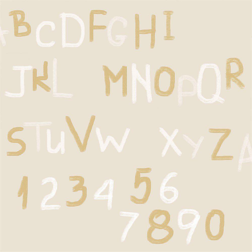 Papel De Parede Coleção Bim Bum Bam Bege Branco Dourado Letras L01 2258 Cristiana Masi