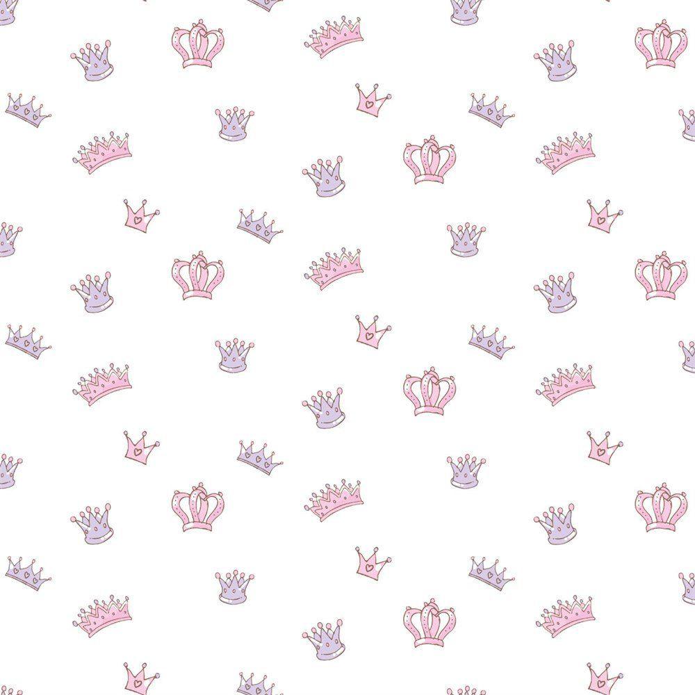 Papel De Parede Coleção Bim Bum Bam Branco Rosa Lilás Coroas L01 2206 Cristiana Masi