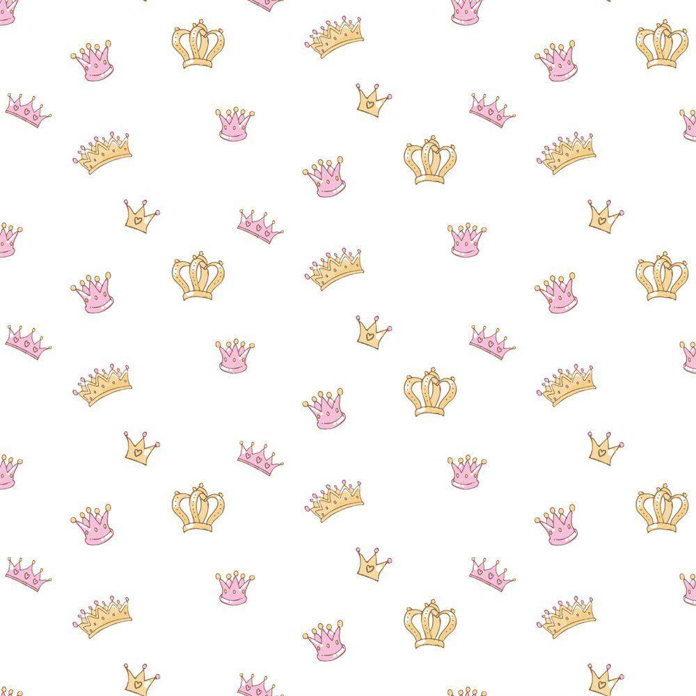 Papel De Parede Coleção Bim Bum Bam Rosa Dourado Branco Coroas L01 2204 Cristiana Masi