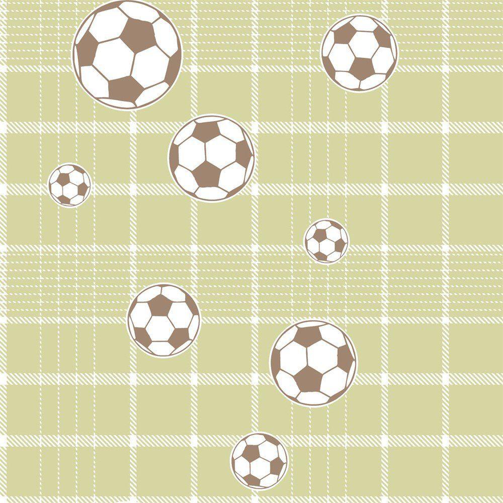 Papel De Parede Coleção Bim Bum Bam Verde Branco Futebol L01 2245 Cristiana Masi