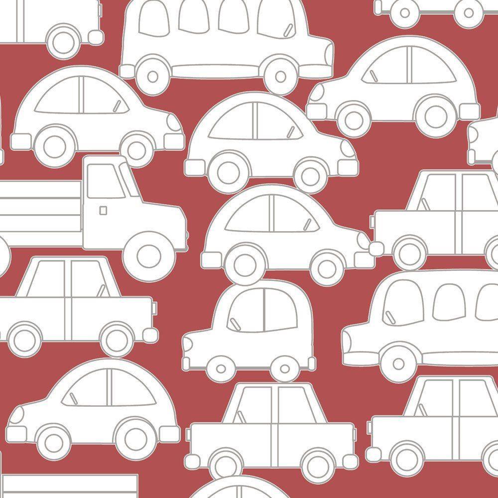 Papel De Parede Coleção Bim Bum Bam Vermelho Branco Carrinhos L01 2238 Cristiana Masi