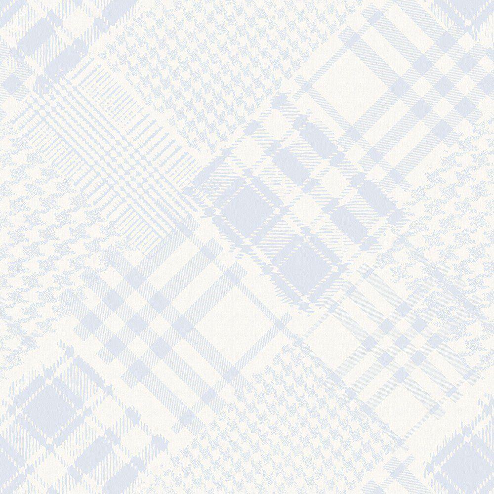 Papel De Parede Coleção Infantário Azul Bege Branco Pied-Poule L01 1714 Bobinex