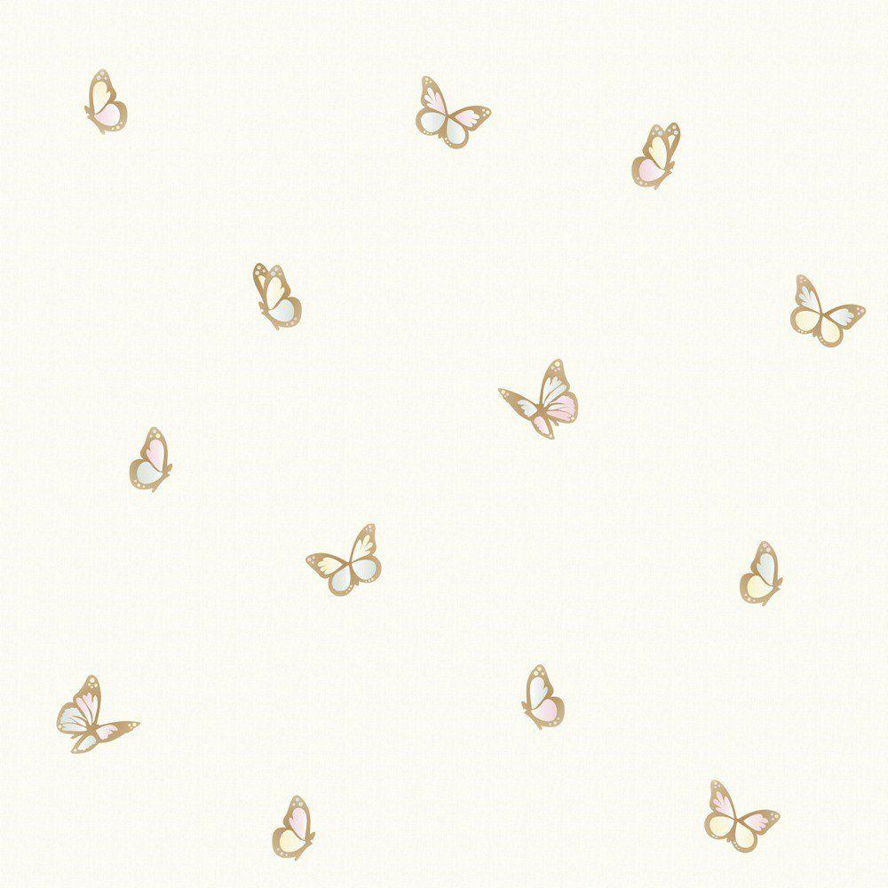 Papel De Parede Coleção Infantário Bege Borboletas L01 1708 Bobinex