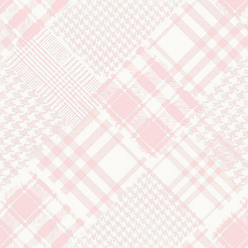 Papel De Parede Coleção Infantário Rosa Branco Pied-Poule L01 1715 Bobinex