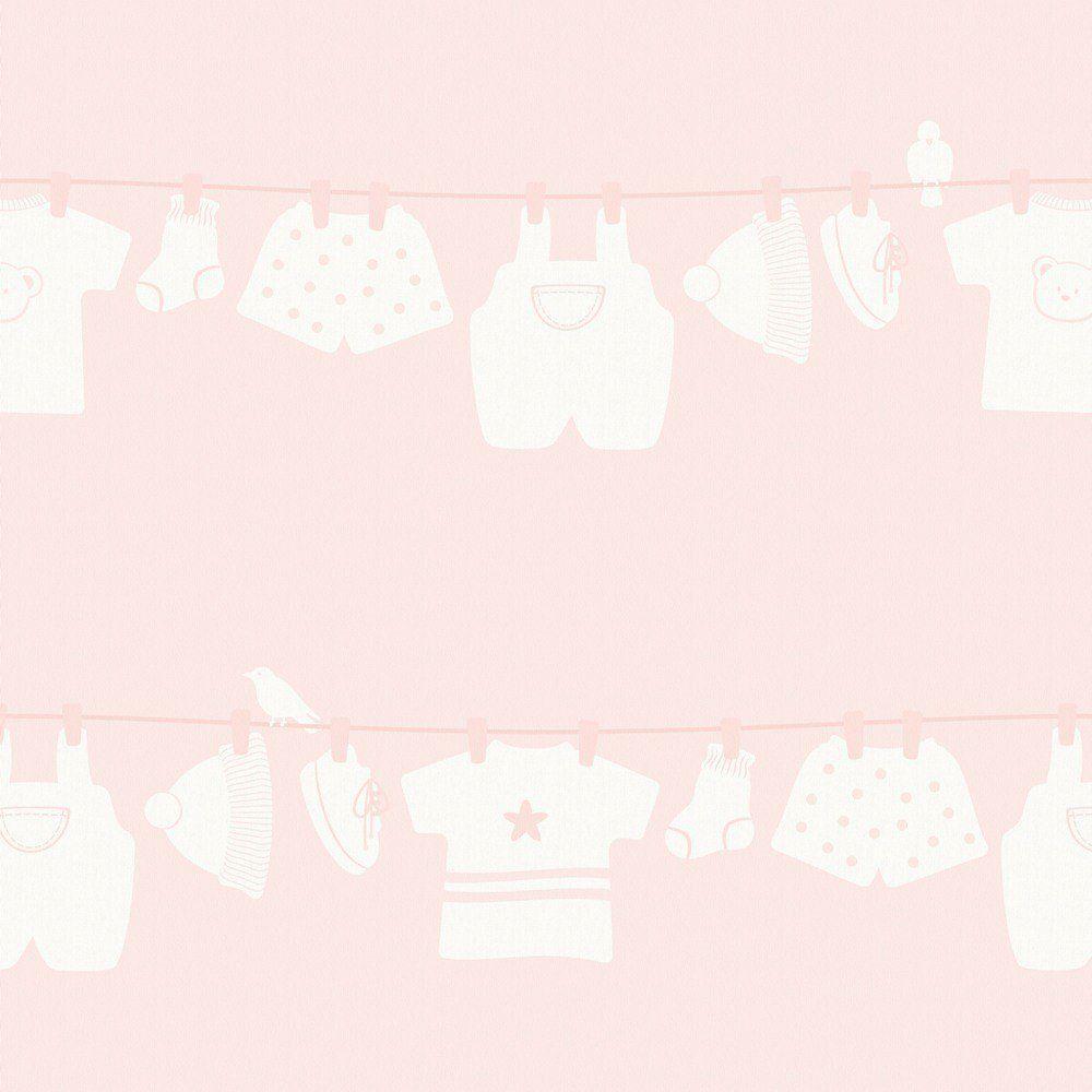 Papel De Parede Coleção Infantário Rosa Varal L01 1727 Bobinex